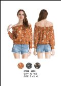 36 Units of Women's Off The Shoulder Floral Shirt - Womens Fashion Tops