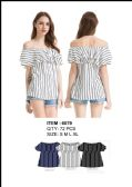 36 Units of Women's Pin Strip Off The Shoulder top - Womens Fashion Tops