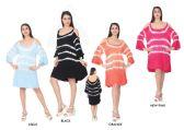 24 Units of Women's Multicolored Shoulder Cut Maxi Summer Dress