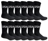 12 Pairs of WSD Mens Cotton Crew Socks, Solid, Athletic (Black USA Print)