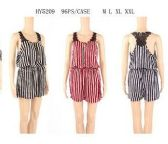 48 Units of WOMENS FASHION STRIPED ROMPER ASSORTED SIZE - Womens Rompers & Outfit Sets