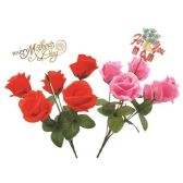 48 Units of 5 heads rose with decoration - Artificial Flowers