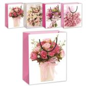 72 Units of Flower gift bag/m 7.5x9x4""