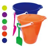 48 Units of Nine Inch Round Pail With Shovel - Beach Toys