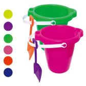 48 Units of Seven Inch Round Pail With Shovel - Beach Toys