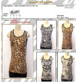 96 Units of Womens Fashion Animal Print Printed Tank Top Assorted Sizes