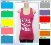 """144 Units of Ladies Solid Ribbed Racer Back Tank Top with Screen Print """"REBEL """""""