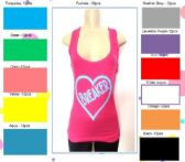 144 Units of Ladies Solid Ribbed Racer Back Tank Top with Screen Print - Womens Camisoles / Tank Tops