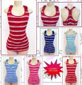 72 Units of Womens Striped Tank Top Assorted Colors - Womens Camisoles / Tank Tops
