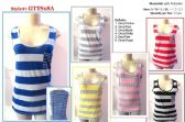 72 Units of Womens Striped Tank Top Assorted Colors With Front Pocket - Womens Camisoles / Tank Tops