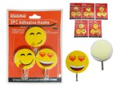 144 Units of 3 Piece Smiley Face Adhesive Hooks