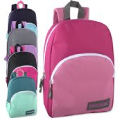 """24 Units of 15 Inch Promo Backpack -Girls 5 Color Assortment - Backpacks 15"""" or Less"""