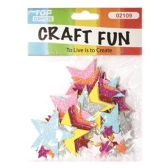 72 Units of EVA Glitter Stars - Scrapbook Supplies