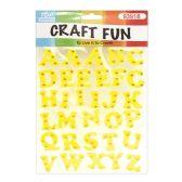 72 Units of Craft Fun Yellow Glitter Rhinestone Letter Stickers - Scrapbook Supplies
