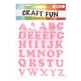 72 Units of Craft Fun Pink Glitter Rhinestone Letters Stickers - Scrapbook Supplies