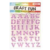 72 Units of Craft Fun Purple Glitter Rhinestone Letters Stickers - Scrapbook Supplies