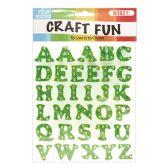 72 Units of Craft Fun Green Glitter Rhinestone Letters Stickers - Scrapbook Supplies