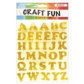 72 Units of Craft Fun Gold Glitter Rhinestone Letters Stickers - Scrapbook Supplies