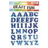 72 Units of Craft Fun Blue Glitter Rhinestone Letters Stickers - Scrapbook Supplies