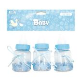 144 Units of Three Count Bottle Baby Blue - Baby Shower