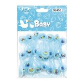 144 Units of Twenty Four Count Rattle Baby Blue - Baby Shower