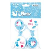 144 Units of Four Count Rattles Baby Blue - Baby Shower