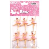 144 Units of Dancing Girl Baby Pink Three Count - Baby Shower