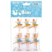 144 Units of Dancing Girl Baby Blue Three Count - Baby Shower