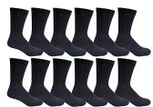12 Pairs of Men's excell Diabetic Crew Socks, Ringspun Cotton, Neuropathy Edema Socks, King Size (Black)