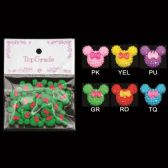 96 Units of Rhinestone Craft Mouse with Bows - Scrapbook Supplies