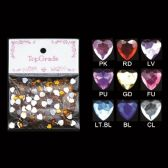 96 Units of Rhinestone Sticker Hearts - Scrapbook Supplies