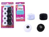 96 Units of 8 Pc Thread, Black & White - Sewing Thread