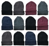 36 Units of Mens Winter Beanie Hats With FLEECE LINING Assorted Colors - Winter Beanie Hats