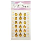 144 Units of Craft Magic Sticker Tear Drop Gold - Craft Beads