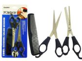 144 Units of 3pc Barber Set With Scissors And Comb - Hanging Decorations/Cut Outs/Clings