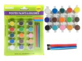 96 Units of 19pc Poster Paint & Brushes Set - Paint, Brushes & Finger Paint