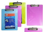 "96 Units of Assorted colors 9"" X 12.5"" Clipboard - Clipboards and Binders"