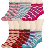 6 Pair Of excell Womens Knitted Slipper Socks With Gripper Bottom and Fuzzy Trim - Womens Fuzzy Socks