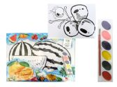 144 Units of Coloring Set 8 Sheets - Paint, Brushes & Finger Paint