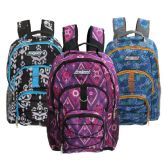 "24 Units of Wholesale 18"" 3 Pocket Backpacks in 3 Assorted Prints - Backpacks 18"" or Larger"