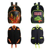 "24 Units of 17"" Boys Backpacks in Gamer and Flame Assorted Prints - Backpacks 17"""