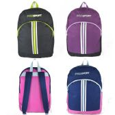 "24 Units of Wholesale 17"" Sport Backpacks for Kids in 3 Colors - Backpacks"