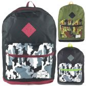 "24 Units of Wholesale 17"" Backpacks in Black and Camo Design Assortment - Backpacks"