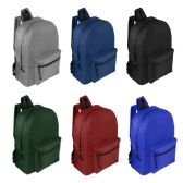 "24 Units of 19"" Wholesale Basic Backpack in 6 Assorted Colors - Backpacks 18"" or Larger"