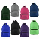 "24 Units of 17"" Wholesale Basic Backpack 8 Assorted Colors - Backpacks"