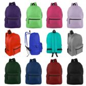 "24 Units of 17"" Basic Backpack in 12 Assorted Colors - Backpacks"