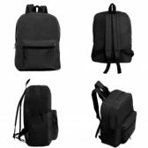 "24 Units of 15"" Wholesale Basic Black Backpack - Backpacks 15"" or Less"