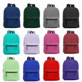 "24 Units of 15"" Wholesale Basic Backpack in 12 Assorted Colors - Backpacks"