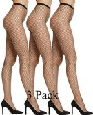 3 Pack WomenGÇÖs Fishnet Pantyhose, High Waisted Mesh Stockings, Black, by excell (Queen Size) - Womens Pantyhose