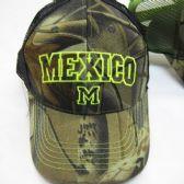 """24 Units of """"Mexico"""" Mesh Camo Baseball Cap - Baseball Caps & Snap Backs"""